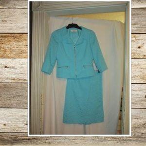 Tahari Turquoise Spring Skirt Suit SZ 8